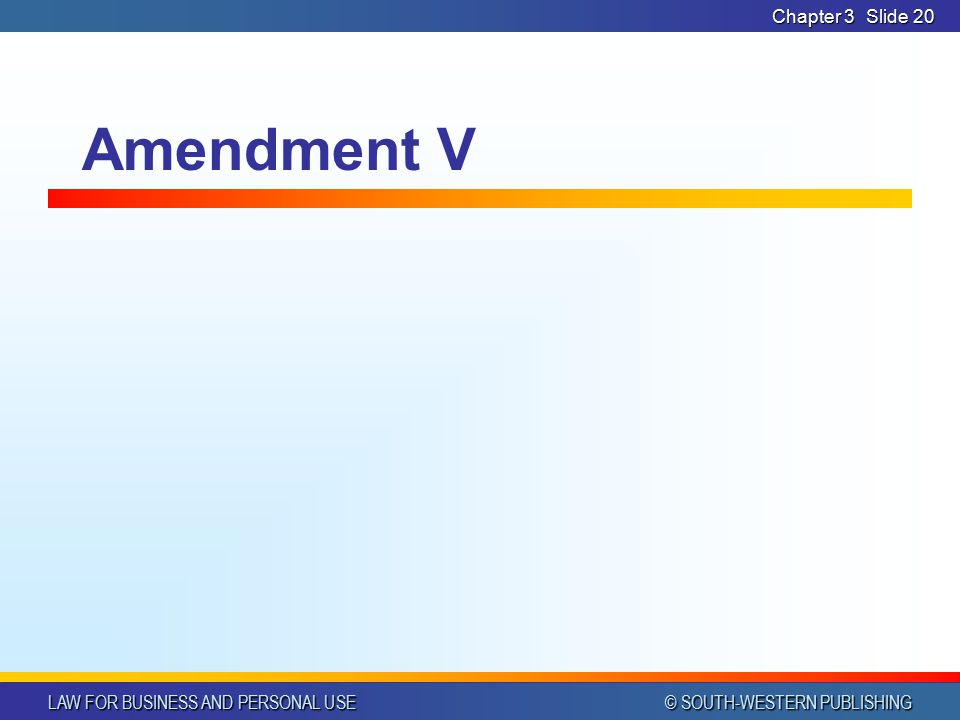 LAW FOR BUSINESS AND PERSONAL USE © SOUTH-WESTERN PUBLISHING Chapter 3Slide 19 Amendment IV