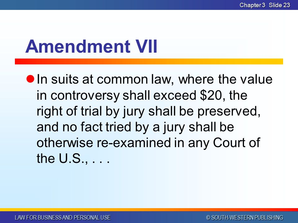 LAW FOR BUSINESS AND PERSONAL USE © SOUTH-WESTERN PUBLISHING Chapter 3Slide 22 Amendment VI Enjoy right to a speedy trial Impartial jury Informed of n
