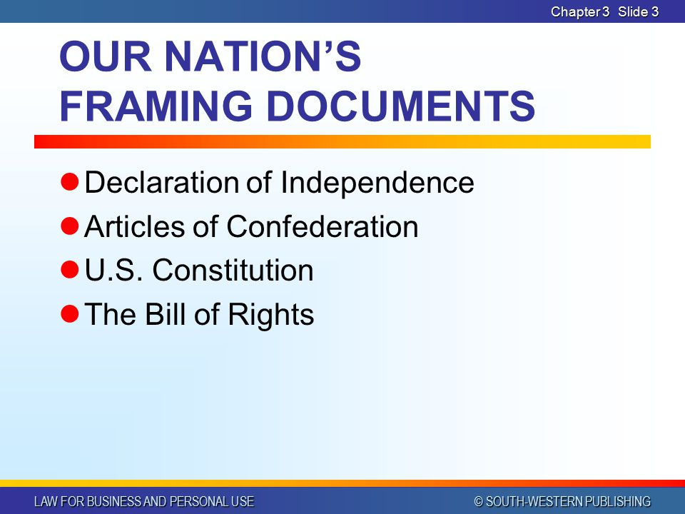 LAW FOR BUSINESS AND PERSONAL USE © SOUTH-WESTERN PUBLISHING Chapter 3 Slide 2 Foundations of Our Constitution Name the documents written in the cours