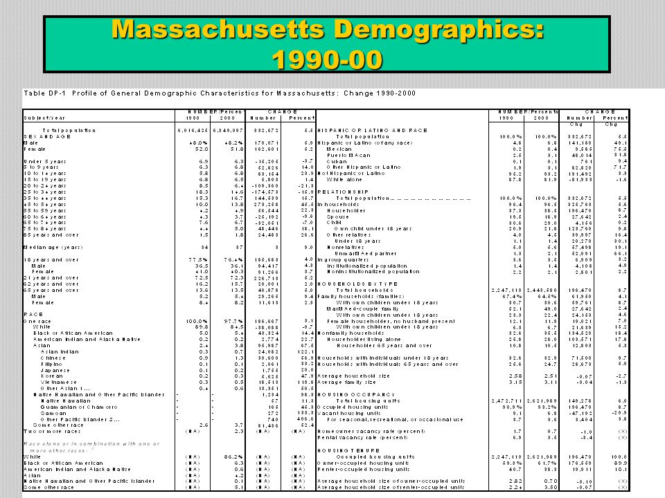 Massachusetts Demographics: 1990-00