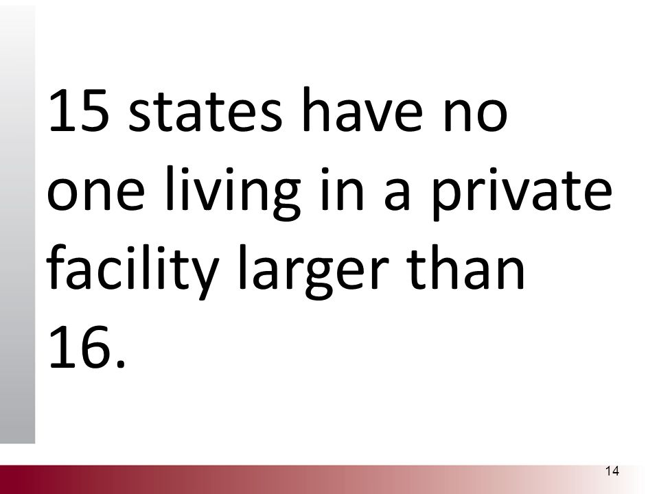 15 states have no one living in a private facility larger than 16. 14