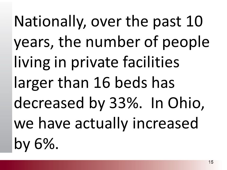 Nationally, over the past 10 years, the number of people living in private facilities larger than 16 beds has decreased by 33%. In Ohio, we have actua