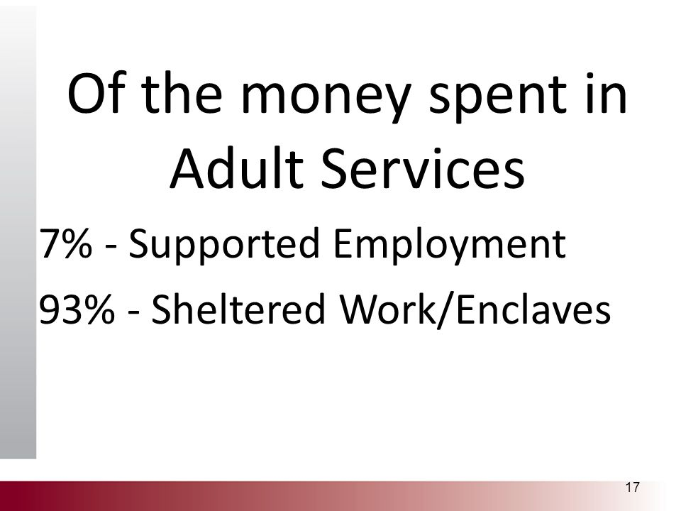 Of the money spent in Adult Services 7% - Supported Employment 93% - Sheltered Work/Enclaves 17