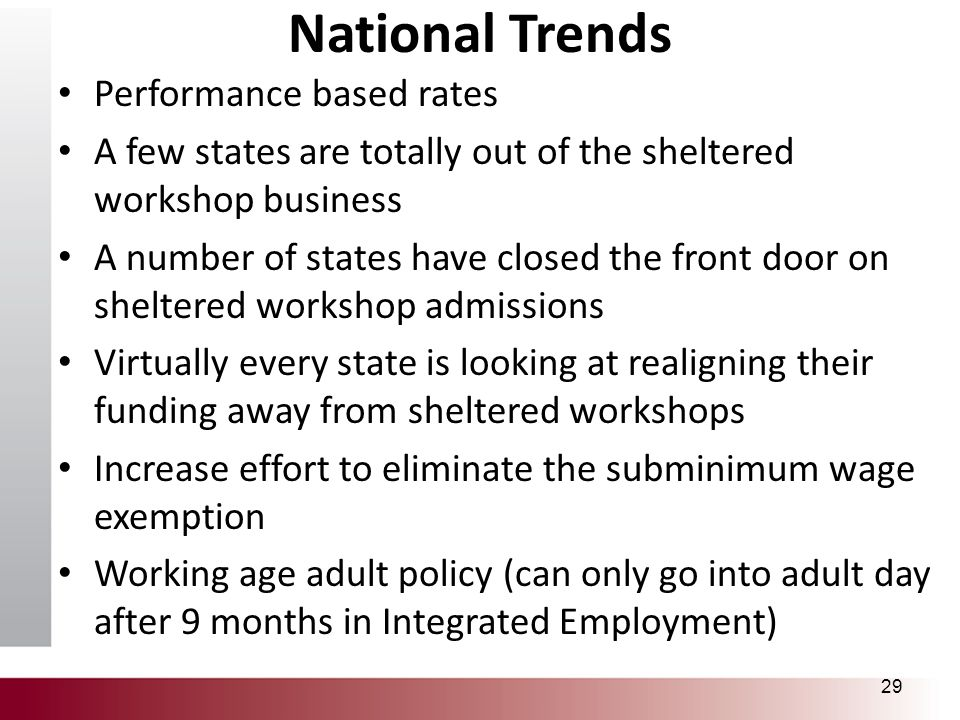 National Trends Performance based rates A few states are totally out of the sheltered workshop business A number of states have closed the front door