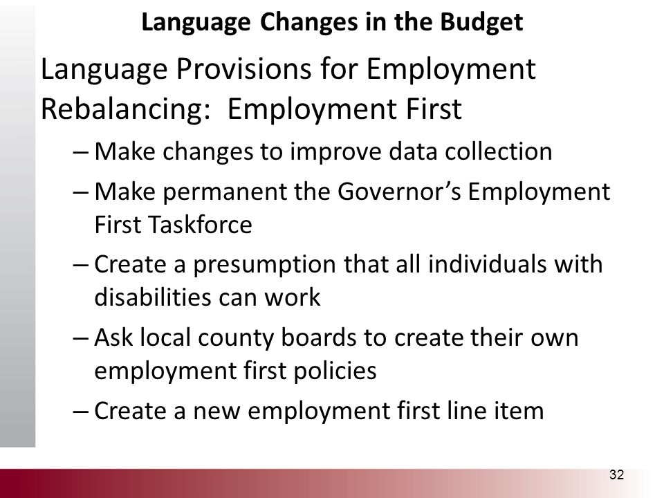 Language Changes in the Budget Language Provisions for Employment Rebalancing: Employment First – Make changes to improve data collection – Make perma