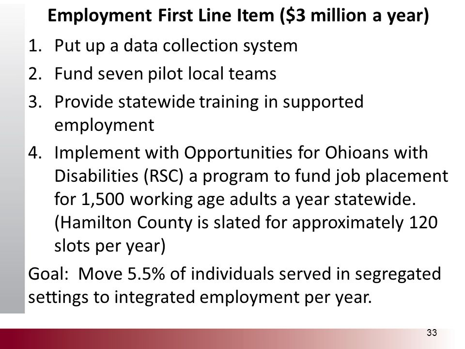 Employment First Line Item ($3 million a year) 1.Put up a data collection system 2.Fund seven pilot local teams 3.Provide statewide training in suppor
