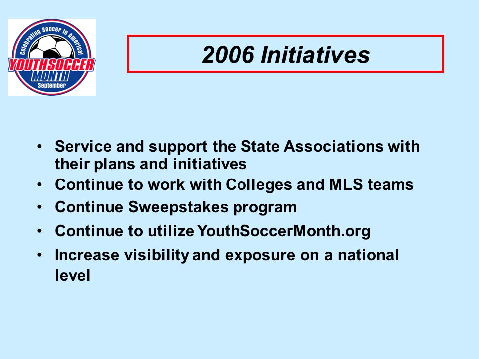 2006 Initiatives Service and support the State Associations with their plans and initiatives Continue to work with Colleges and MLS teams Continue Sweepstakes program Continue to utilize YouthSoccerMonth.org Increase visibility and exposure on a national level