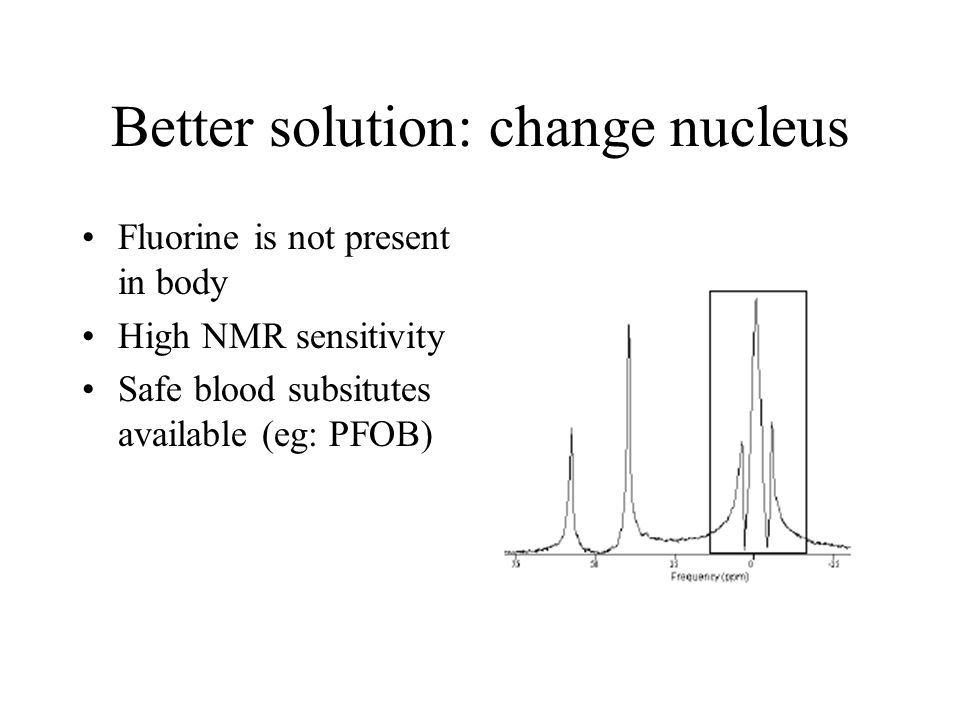 Better solution: change nucleus Fluorine is not present in body High NMR sensitivity Safe blood subsitutes available (eg: PFOB)