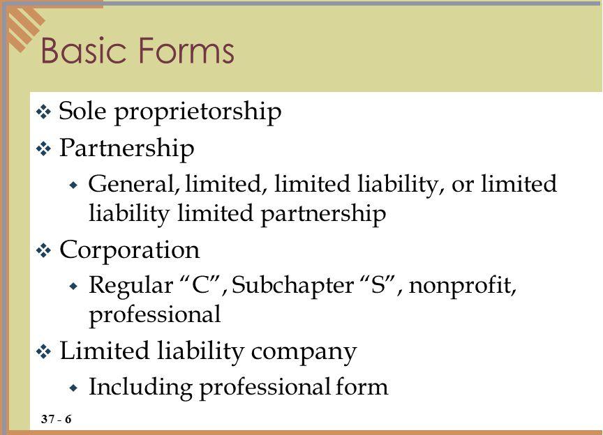 " Sole proprietorship  Partnership  General, limited, limited liability, or limited liability limited partnership  Corporation  Regular ""C"", Subch"
