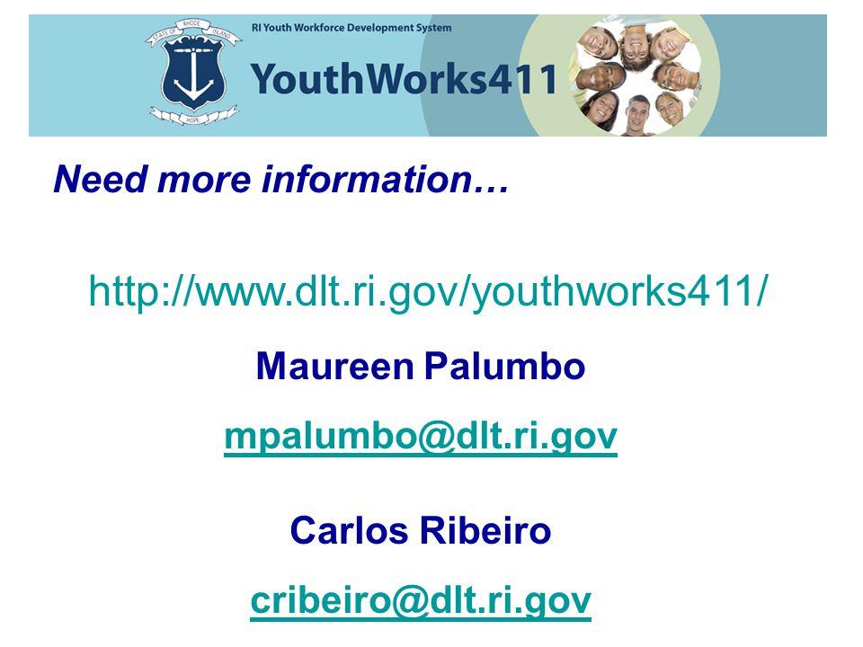 Need more information… http://www.dlt.ri.gov/youthworks411/ Maureen Palumbo mpalumbo@dlt.ri.gov Carlos Ribeiro cribeiro@dlt.ri.gov