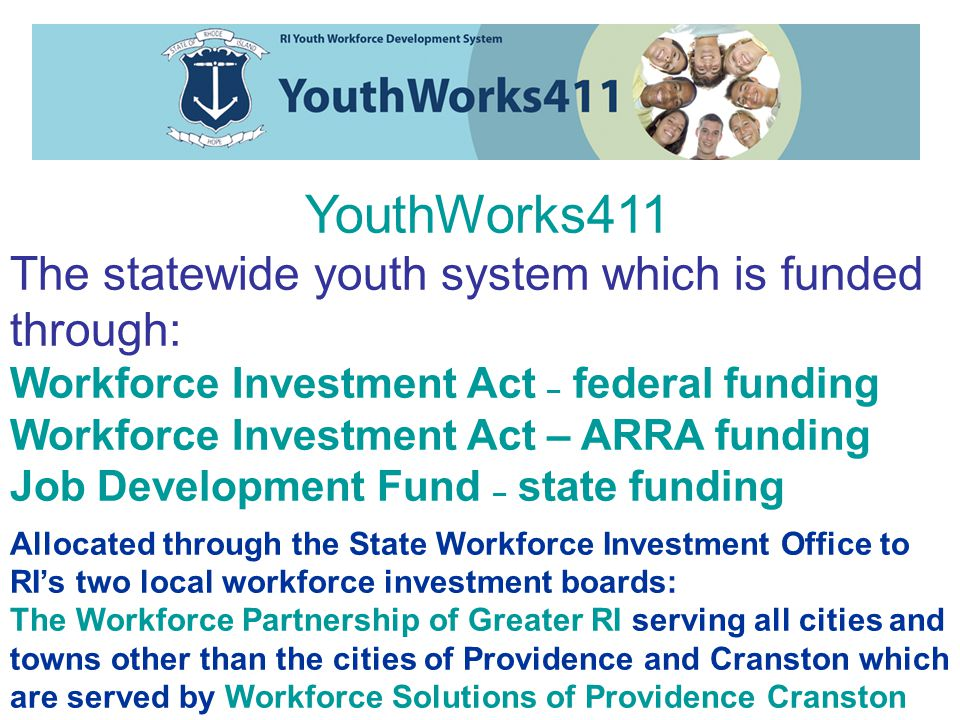 The 2009 Picture With a total investment of nearly $16m, YouthWORKS411 will provide an all youth agenda to: Over 10,000 Youth 13 Youth Centers 77 Vendors 89 Programs In school - Out of School - Summer Work Experience