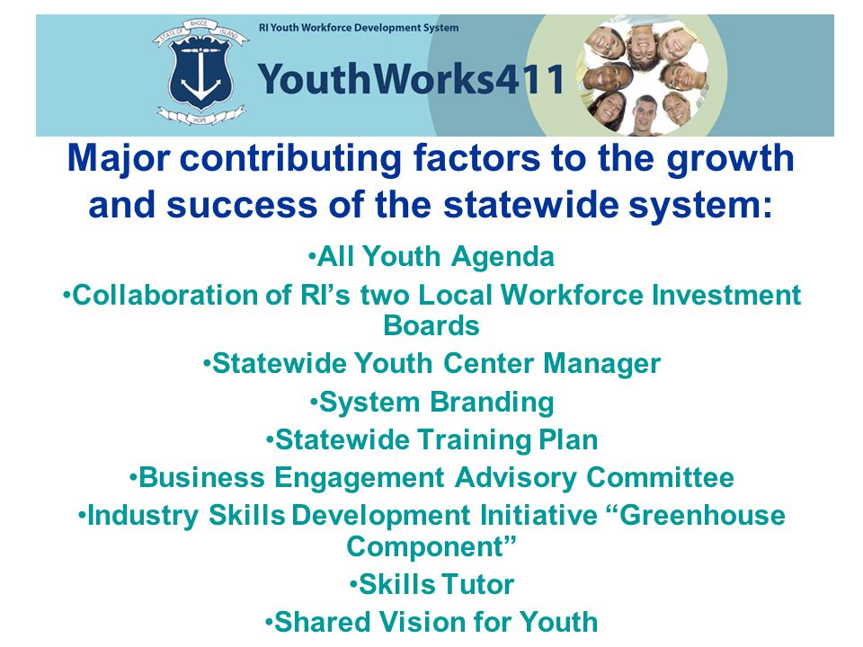 All Youth Agenda Collaboration of RI's two Local Workforce Investment Boards Statewide Youth Center Manager System Branding Statewide Training Plan Business Engagement Advisory Committee Industry Skills Development Initiative Greenhouse Component Skills Tutor Shared Vision for Youth Major contributing factors to the growth and success of the statewide system: