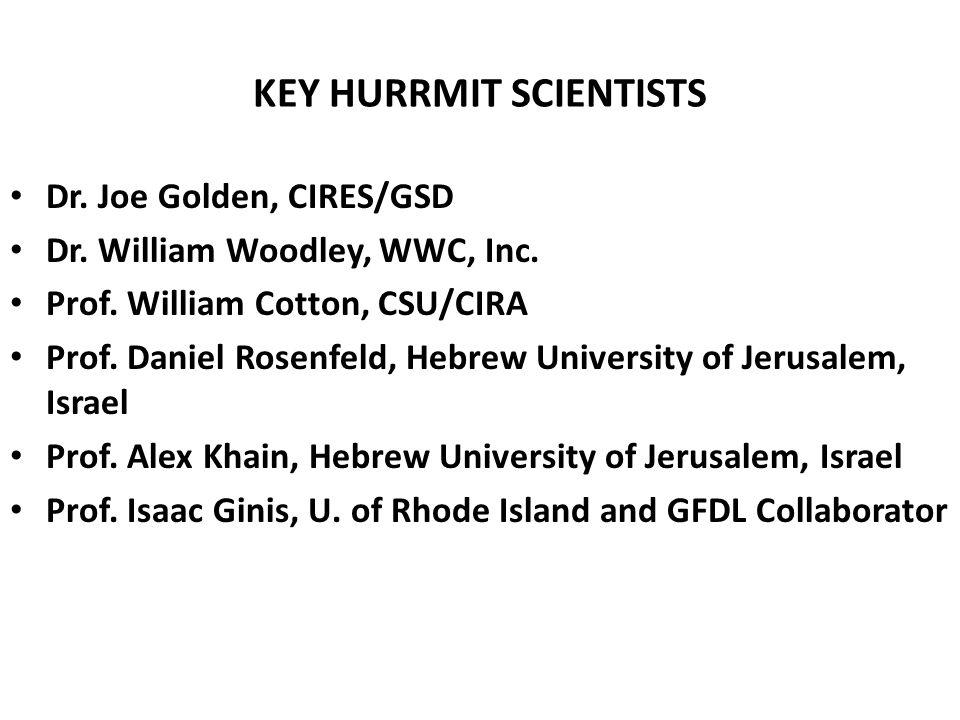 KEY HURRMIT SCIENTISTS Dr. Joe Golden, CIRES/GSD Dr.