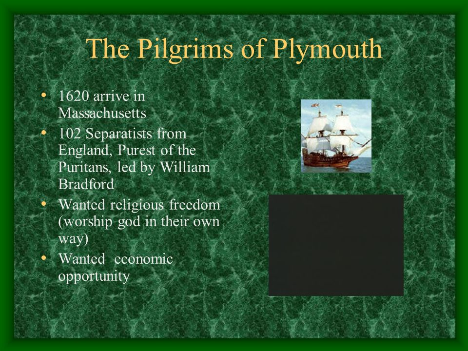 The Pilgrims of Plymouth 1620 arrive in Massachusetts 102 Separatists from England, Purest of the Puritans, led by William Bradford Wanted religious freedom (worship god in their own way) Wanted economic opportunity