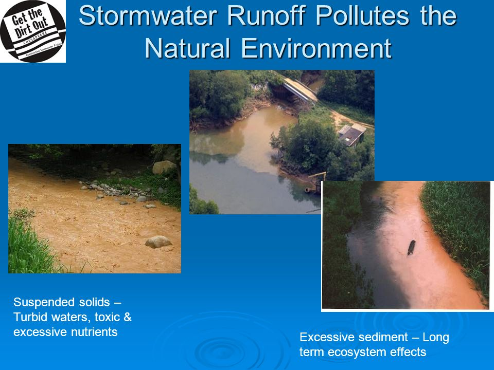 Stormwater Runoff Pollutes the Natural Environment Suspended solids – Turbid waters, toxic & excessive nutrients Excessive sediment – Long term ecosystem effects
