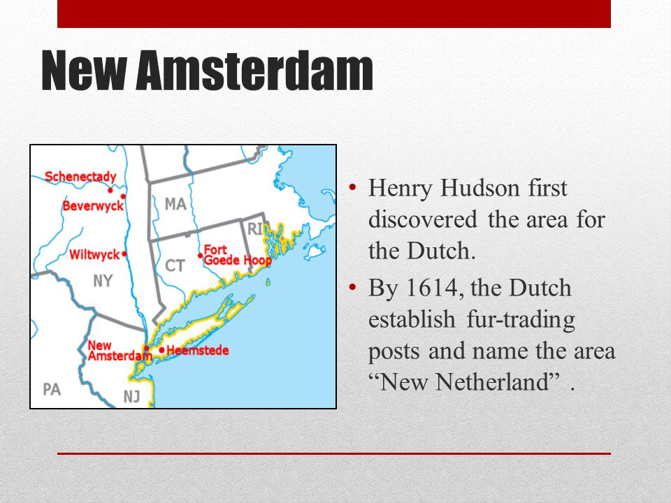 "New Amsterdam Henry Hudson first discovered the area for the Dutch. By 1614, the Dutch establish fur-trading posts and name the area ""New Netherland""."