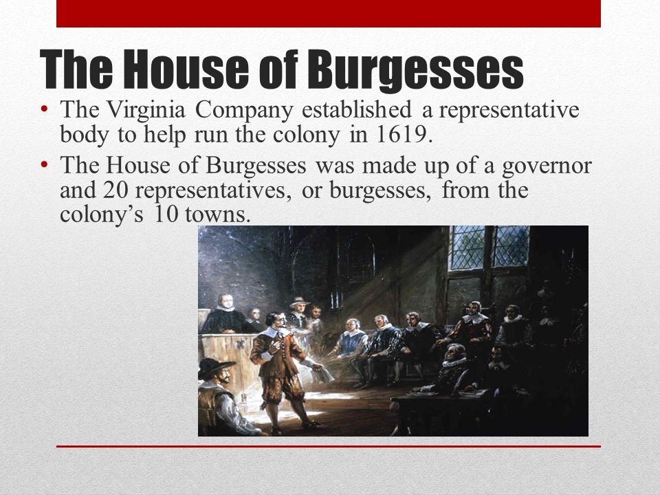 The House of Burgesses The Virginia Company established a representative body to help run the colony in 1619. The House of Burgesses was made up of a