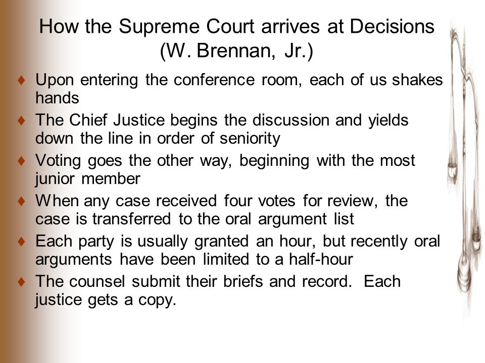 How the Supreme Court arrives at Decisions (W.