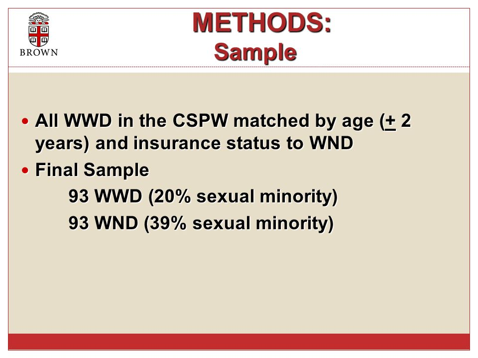 METHODS: Sample METHODS: Sample All WWD in the CSPW matched by age (+ 2 years) and insurance status to WND All WWD in the CSPW matched by age (+ 2 yea