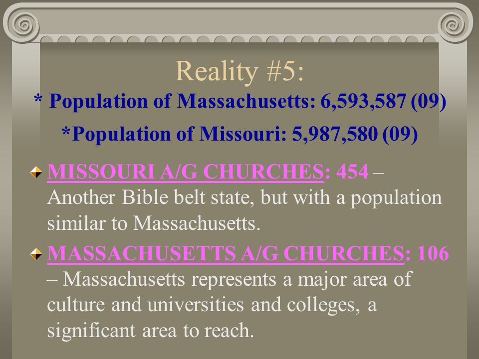 Reality #4: * Population of Connecticut: 3,518,288 (09) *Population of Oklahoma: 3,687,050 (09) OKLAHOMA A/G CHURCHES: 481 – We recognize this as the Bible belt, but the population is the same as Connecticut.