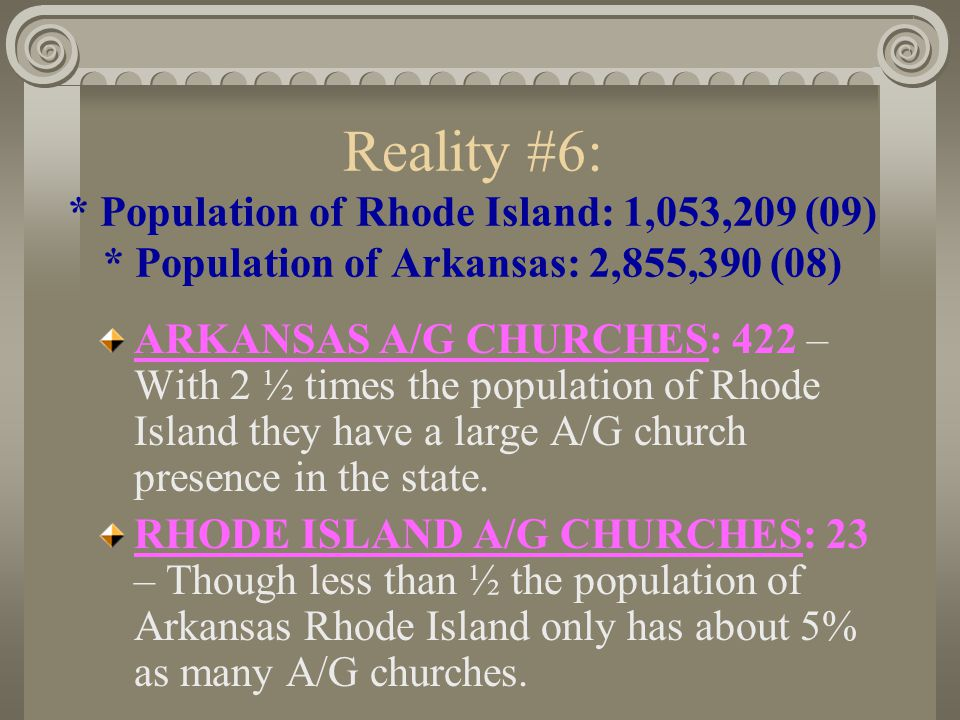 Reality #5: * Population of Massachusetts: 6,593,587 (09) *Population of Missouri: 5,987,580 (09) MISSOURI A/G CHURCHES: 454 – Another Bible belt state, but with a population similar to Massachusetts.