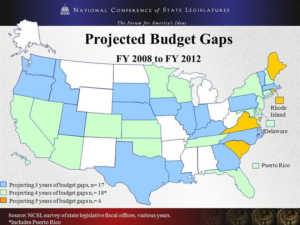 Projected Budget Gaps FY 2008 to FY 2012 Rhode Island Delaware Source: NCSL survey of state legislative fiscal offices, various years. *Includes Puert