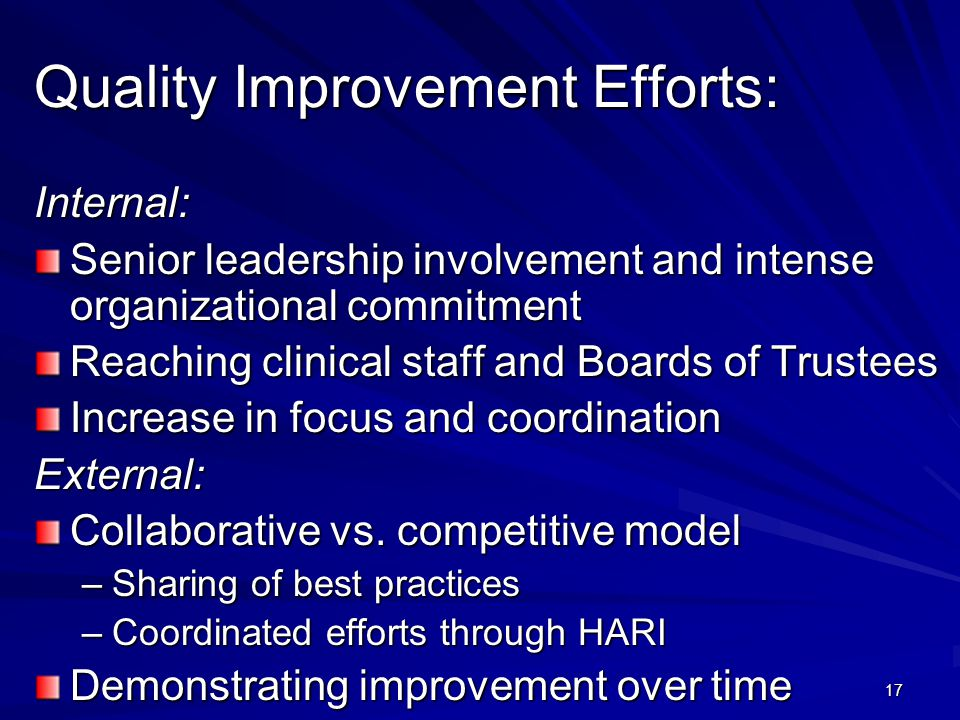17 Quality Improvement Efforts: Internal: Senior leadership involvement and intense organizational commitment Reaching clinical staff and Boards of Tr