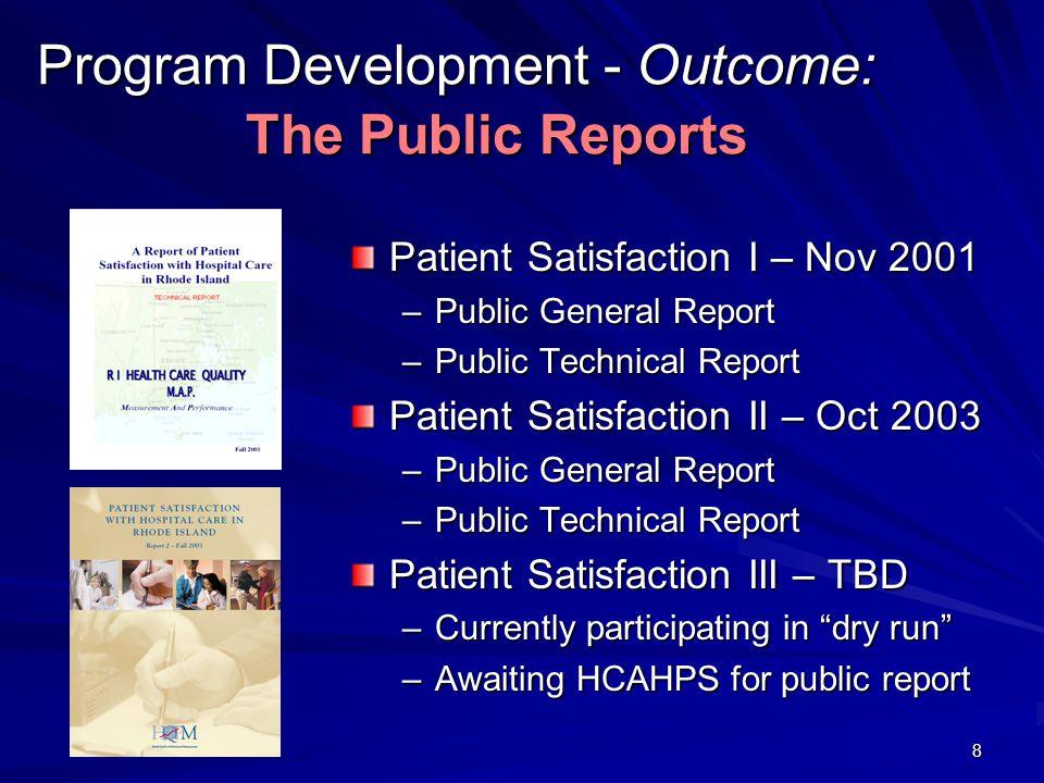 8 Program Development - Outcome: The Public Reports Patient Satisfaction I – Nov 2001 –Public General Report –Public Technical Report Patient Satisfac