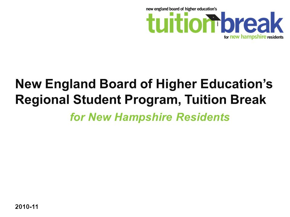 New England Board of Higher Education's Regional Student Program, Tuition Break 2010-11 for New Hampshire Residents