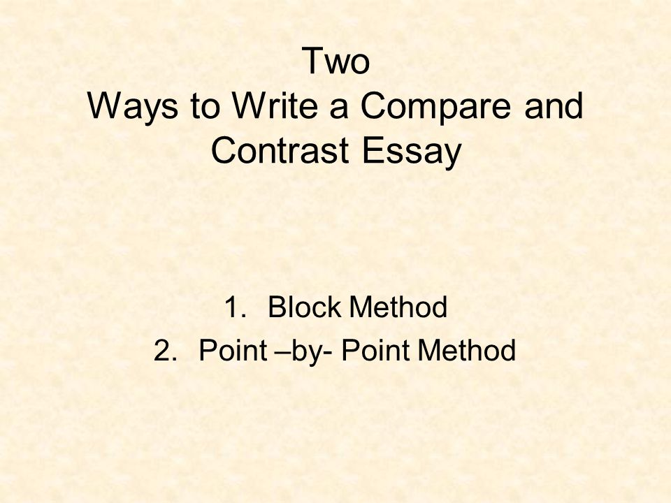 point by point method comparison essay There are two basic methods of writing or organizing a compare and contrast essay one is the point-by-point method and another is the block method.