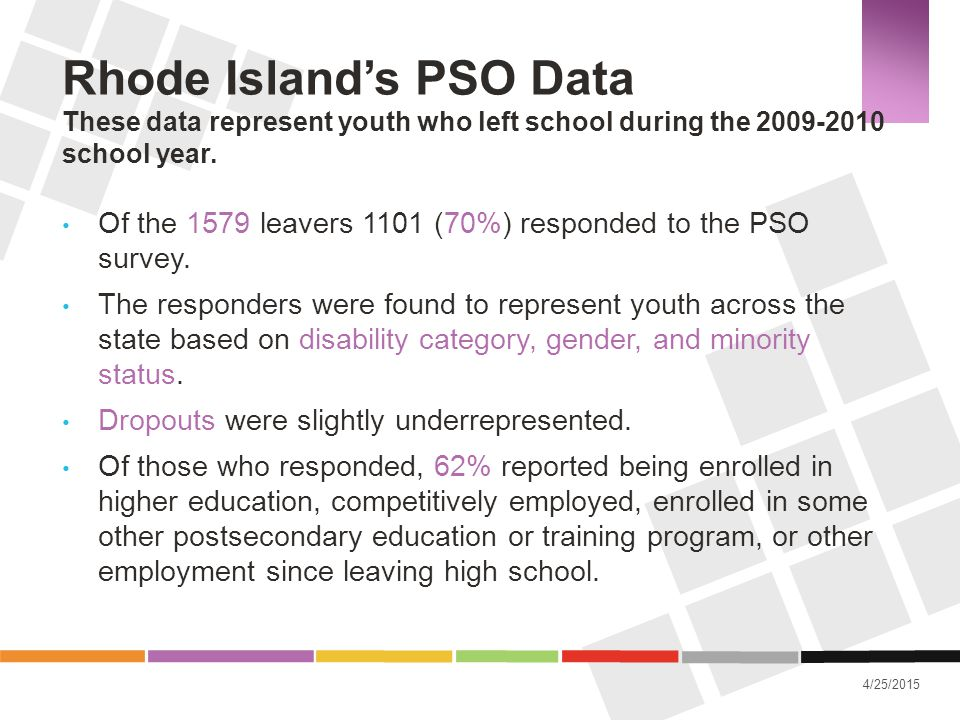 4/25/2015 Rhode Island's PSO Data These data represent youth who left school during the 2009-2010 school year. Of the 1579 leavers 1101 (70%) responde