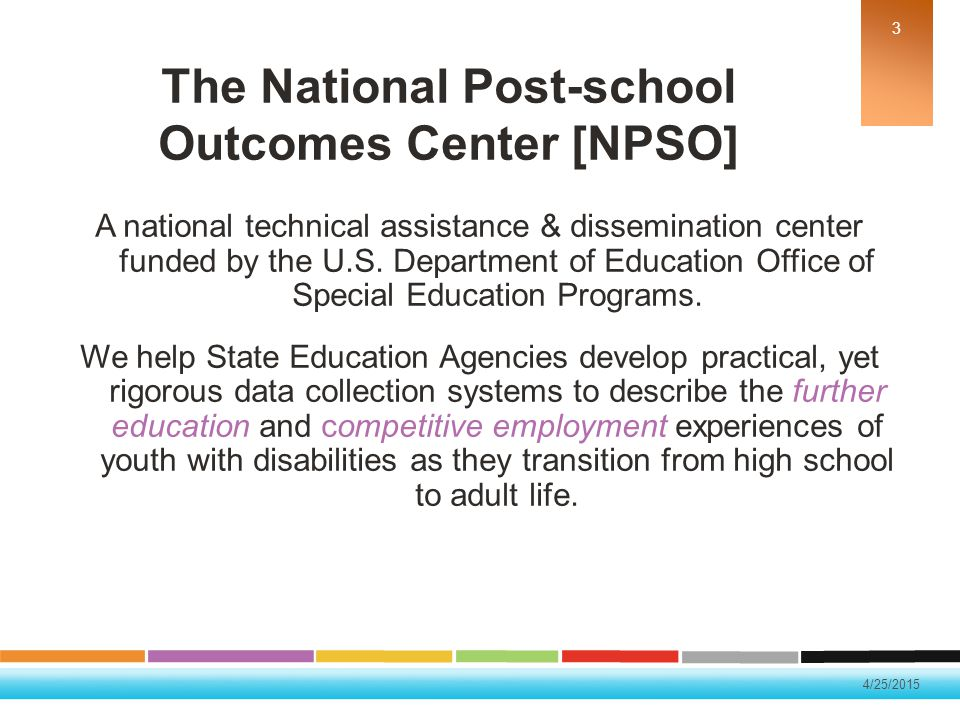 4/25/2015 Purpose of IDEA To ensure that all children with disabilities have available to them a free and appropriate public education that emphasizes special education and related services designed to meet their unique needs and prepare them for further education, employment, and independent living.