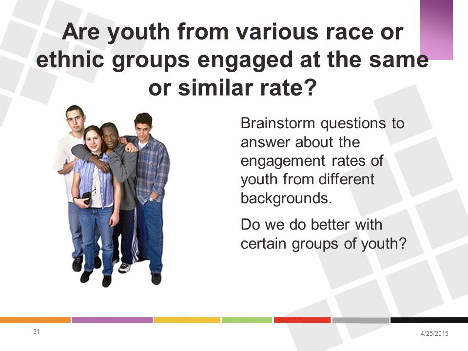 4/25/2015 Brainstorm questions to answer about the engagement rates of youth from different backgrounds. Do we do better with certain groups of youth?