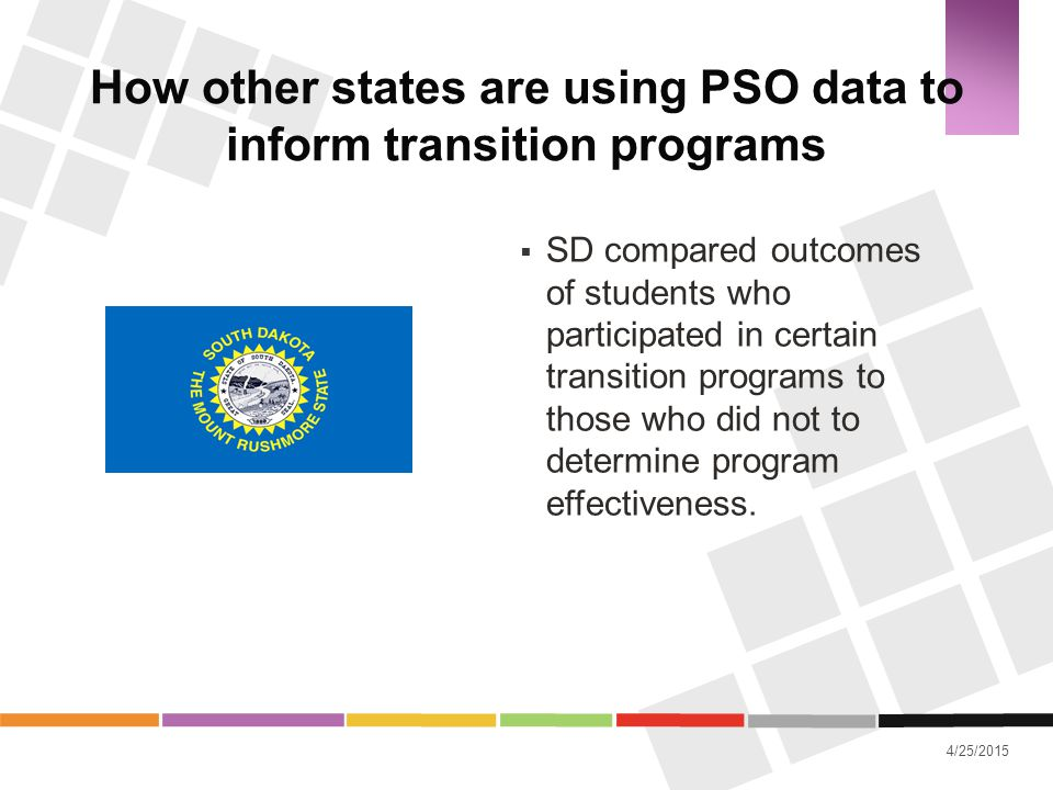 4/25/2015 How other states are using PSO data to inform transition programs  SD compared outcomes of students who participated in certain transition