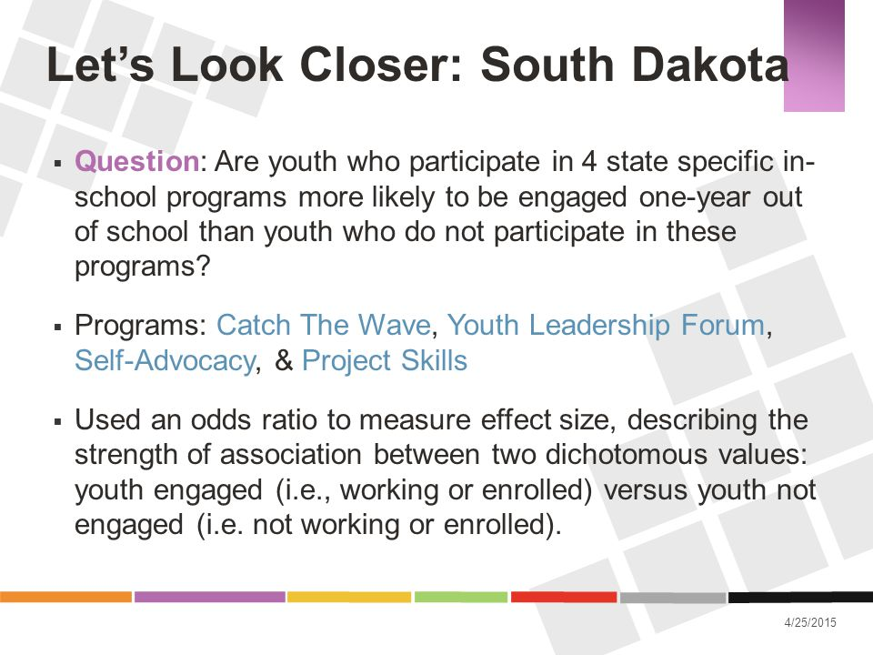 4/25/2015 Let's Look Closer: South Dakota  Question: Are youth who participate in 4 state specific in- school programs more likely to be engaged one-