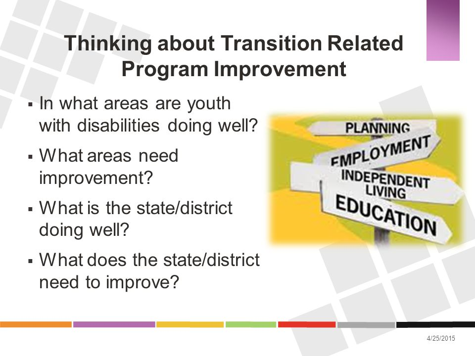 4/25/2015 Thinking about Transition Related Program Improvement  In what areas are youth with disabilities doing well?  What areas need improvement?