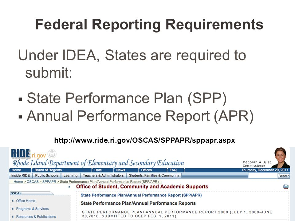 Under IDEA, States are required to submit:  State Performance Plan (SPP)  Annual Performance Report (APR) http://www.ride.ri.gov/OSCAS/SPPAPR/sppapr