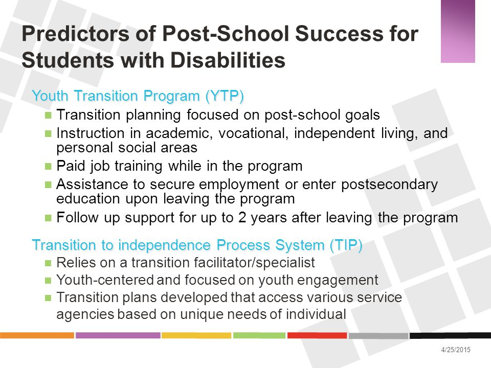4/25/2015 Predictors of Post-School Success for Students with Disabilities Youth Transition Program (YTP) Transition planning focused on post-school g
