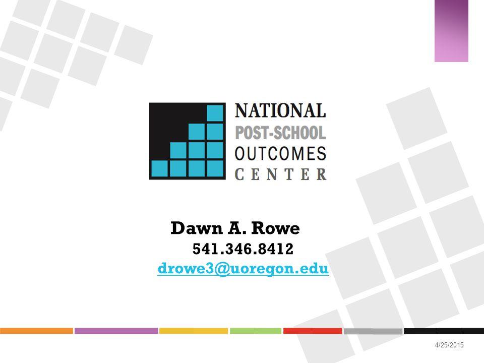 4/25/2015 Dawn A. Rowe 541.346.8412 drowe3@uoregon.edu