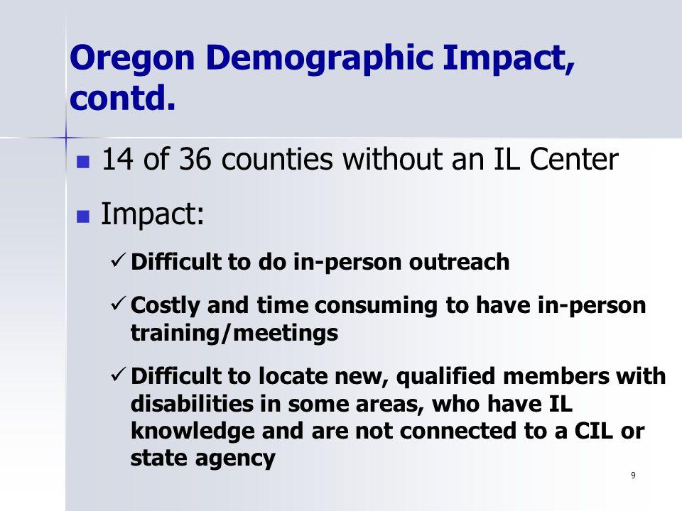 9 Oregon Demographic Impact, contd.