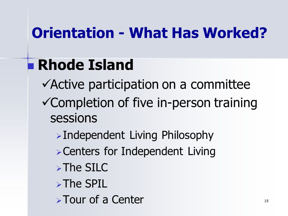18 Orientation - What Has Worked.