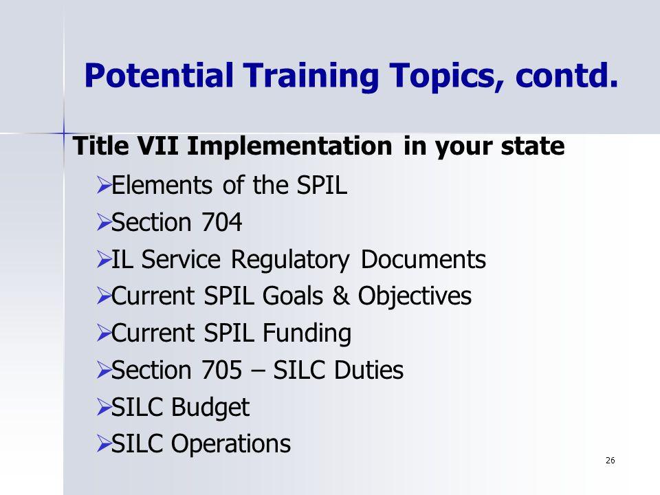26 Potential Training Topics, contd.