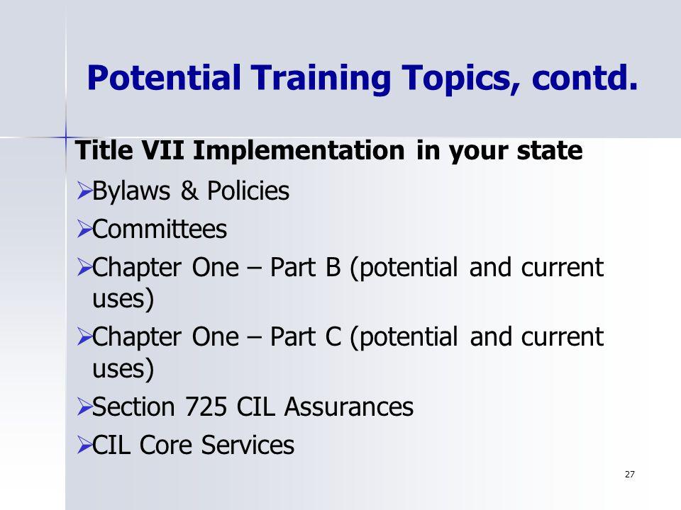 27 Potential Training Topics, contd.