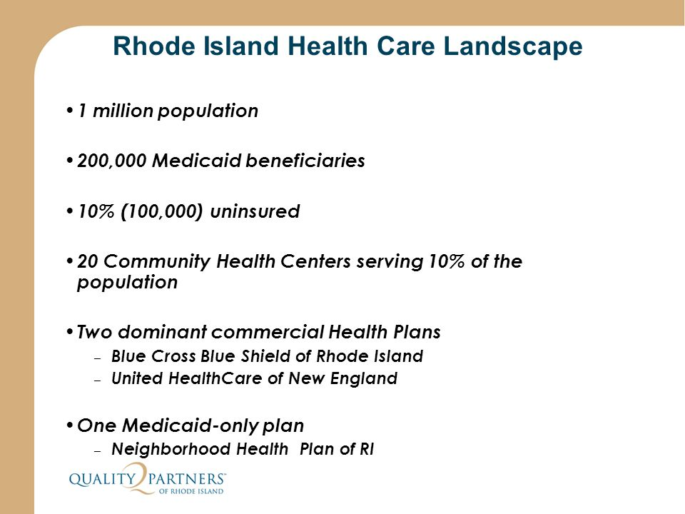 Rhode Island Health Care Landscape 1 million population 200,000 Medicaid beneficiaries 10% (100,000) uninsured 20 Community Health Centers serving 10%