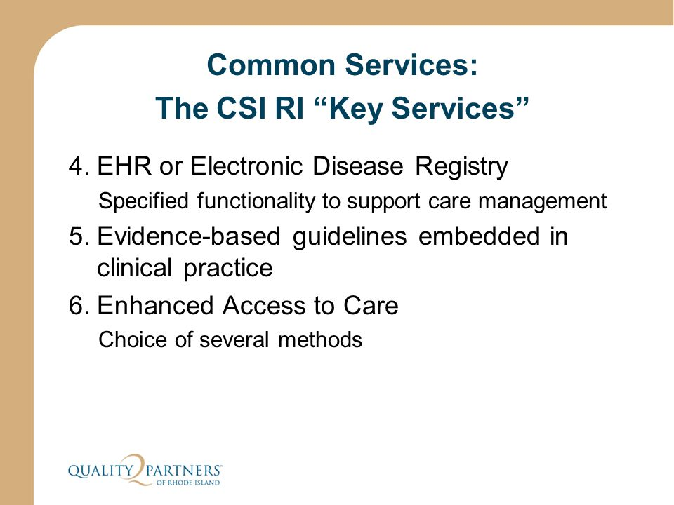 "Common Services: The CSI RI ""Key Services"" 4.EHR or Electronic Disease Registry Specified functionality to support care management 5.Evidence-based gu"