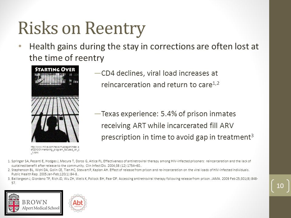 Risks on Reentry ―CD4 declines, viral load increases at reincarceration and return to care 1,2 ―Texas experience: 5.4% of prison inmates receiving ART while incarcerated fill ARV prescription in time to avoid gap in treatment 3 1.Springer SA, Pesanti E, Hodges J, Macura T, Doros G, Altice FL.