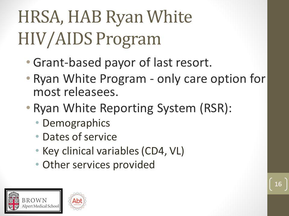 HRSA, HAB Ryan White HIV/AIDS Program Grant-based payor of last resort.