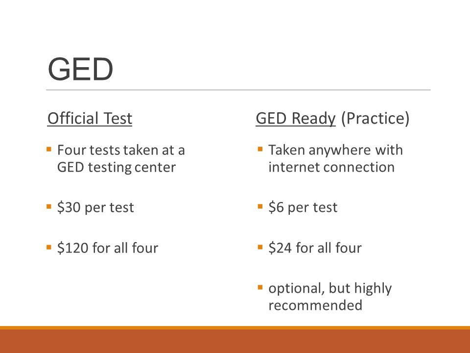 GED Official Test  Four tests taken at a GED testing center  $30 per test  $120 for all four GED Ready (Practice)  Taken anywhere with internet connection  $6 per test  $24 for all four  optional, but highly recommended