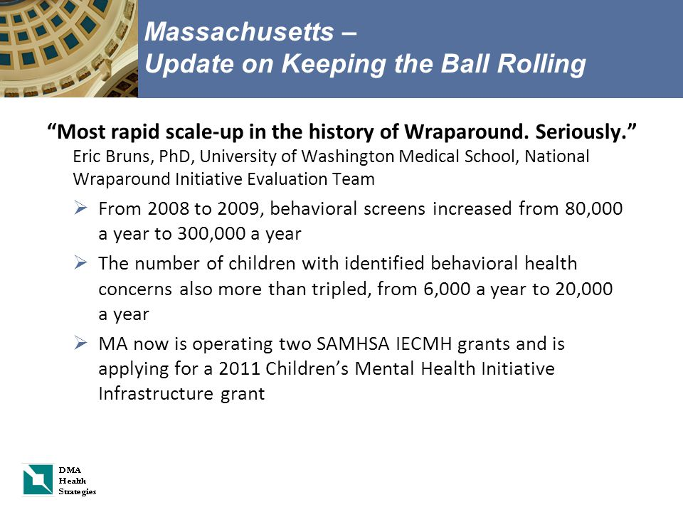 Massachusetts – Update on Keeping the Ball Rolling Most rapid scale-up in the history of Wraparound.