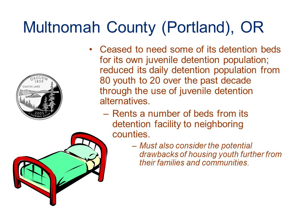 Multnomah County (Portland), OR Ceased to need some of its detention beds for its own juvenile detention population; reduced its daily detention population from 80 youth to 20 over the past decade through the use of juvenile detention alternatives.